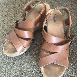 Clark's cognac leather platform sandals size 8.5
